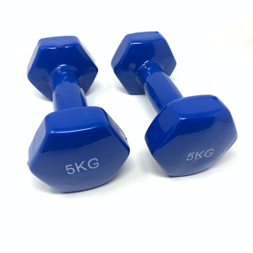 Hexagon Vinyl Dumbbells Blue - 5 kg x 2 pcs