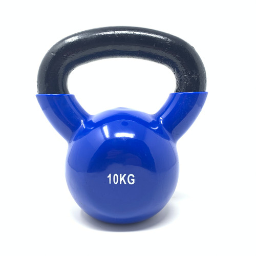 Round Vinyl Kettlebell Blue With Iron Handle - 10 kg x 1 pc