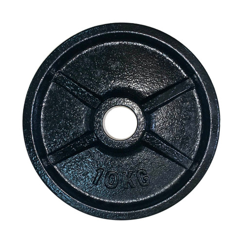 10 Kg Black Iron Olympic Weight Plate - 53 mm Centre Hole Diameter (1 pc)
