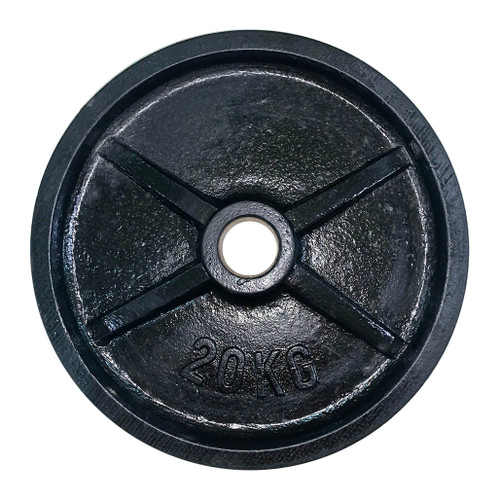 20 Kg Black Iron Olympic Weight Plate - 53 mm Centre Hole Diameter (1 pc)