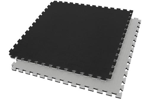 Interlocking Puzzle Mat Black/Grey Gym Flooring 100x100x2.5 cm (1 piece)