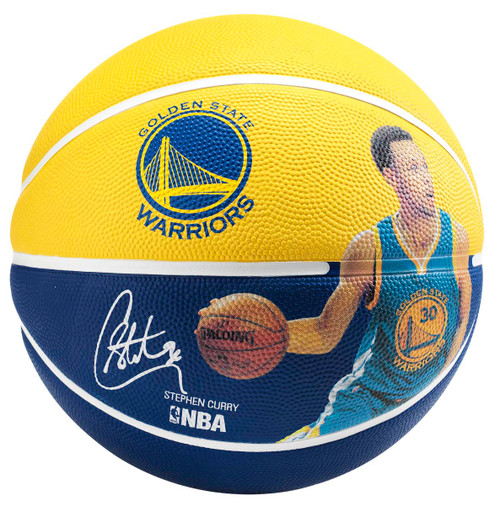 Spalding NBA Player Stephen Curry Blue/Yellow Outdoor Basketball - Size 5