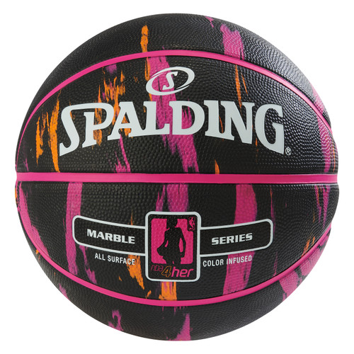 Spalding 4 HER Marble Series Black Multi-Color Outdoor Basketball - Size 6