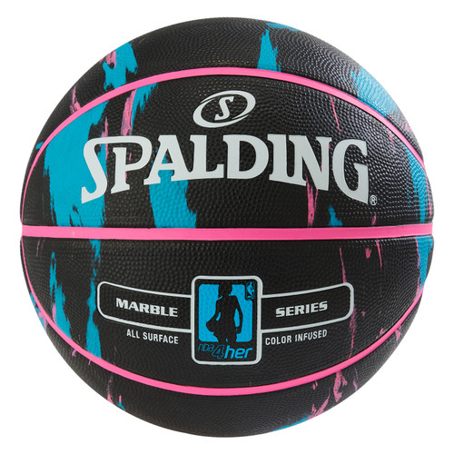 Spalding 4 HER Marble Series Black/Blue Outdoor Basketball - Size 6