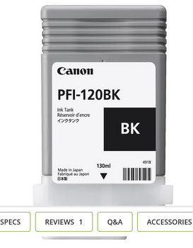 Canon PFI 120MBK - Black Pigment Ink Tank 130ml