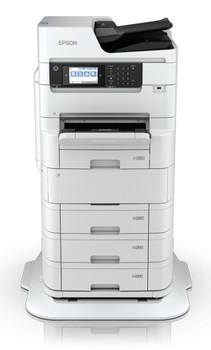 WorkForce Pro WF-C879R Multifunction Color Printer front with pedestal