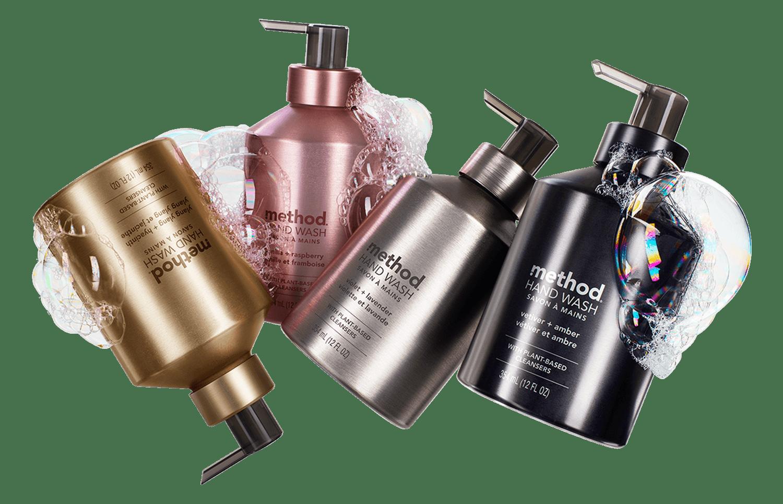 Method Aluminum hand wash bottles: Ylang Ylang + Hyacinth, Vanilla + Raspberry, Violet + Lavender, and Vetiver + Amber