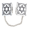 Rectangular Black-Silver Magen David Tallit Clips