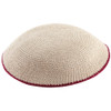 Beige DMC Knitted Kippah with Burgundy Trim