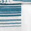 White with Turquoise & Silver Striping