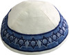 White Magen David Embroidered Kippah