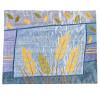 Wheat Stalks on Blue Raw Silk Applique Challah Cover.