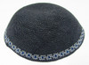 Gray DMC Knitted Kippah with Light Gray & Blue Trim
