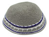 Light Gray DMC Knitted Kippah with Blue & White Trim