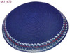 Navy DMC Knitted Kippah with Red & White Trim