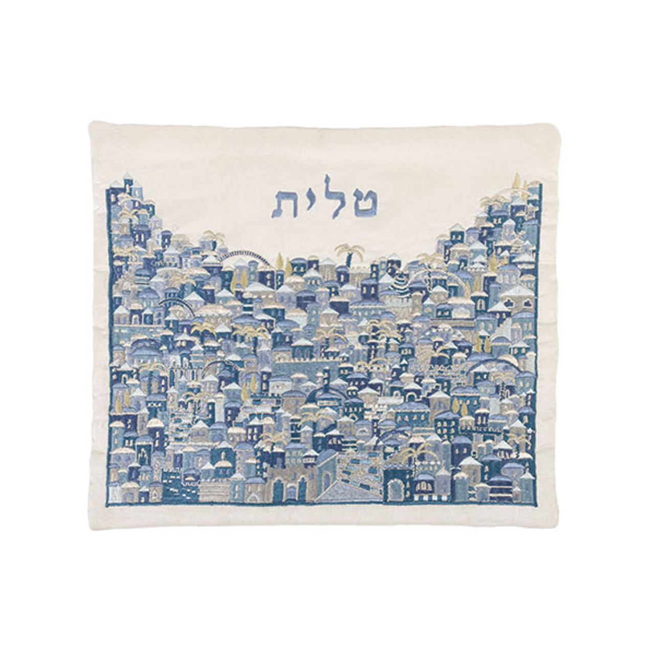 Raw Silk Jerusalem Hillside Tallit Bag