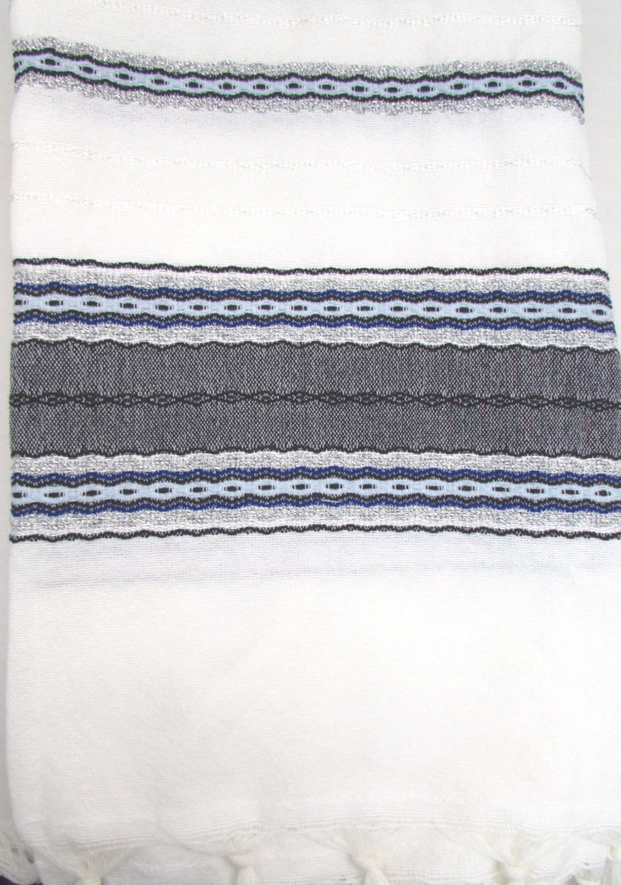 Gabrieli Blue & Silver Classic, 22 x 70 inches, 100% wool