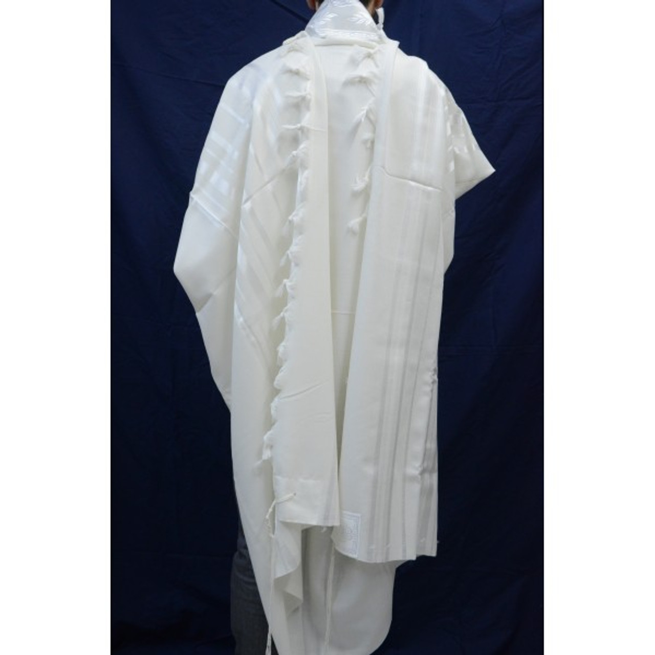 Tashbetz White-on-White Nonslip Tallit, Size 60
