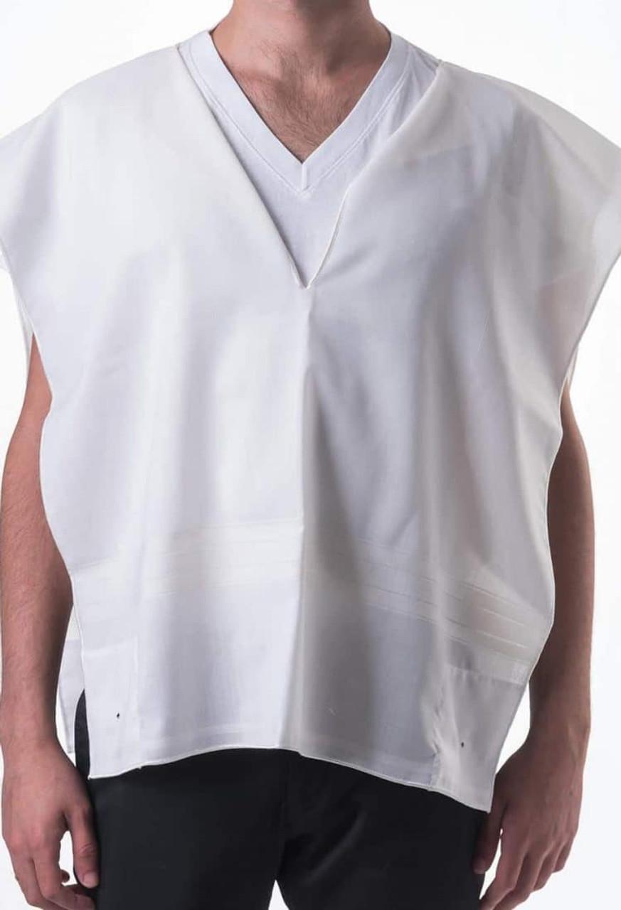 White-Striped Lightweight Wool Tallit Katan