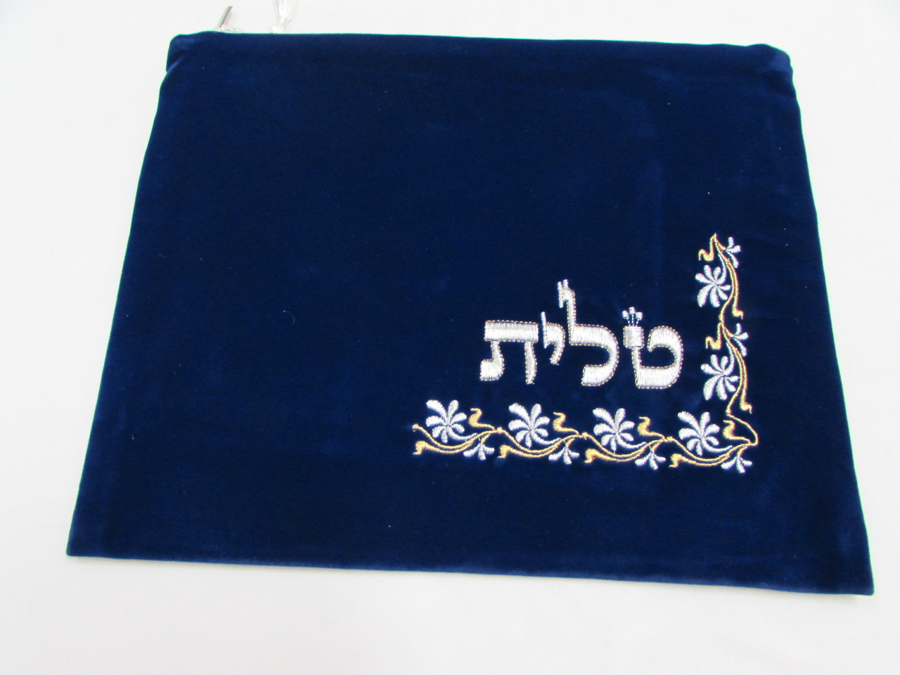 Blue Velvet Tallit Bag with Vines