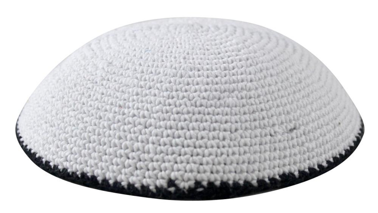 White Knitted Kippah with Black Trim