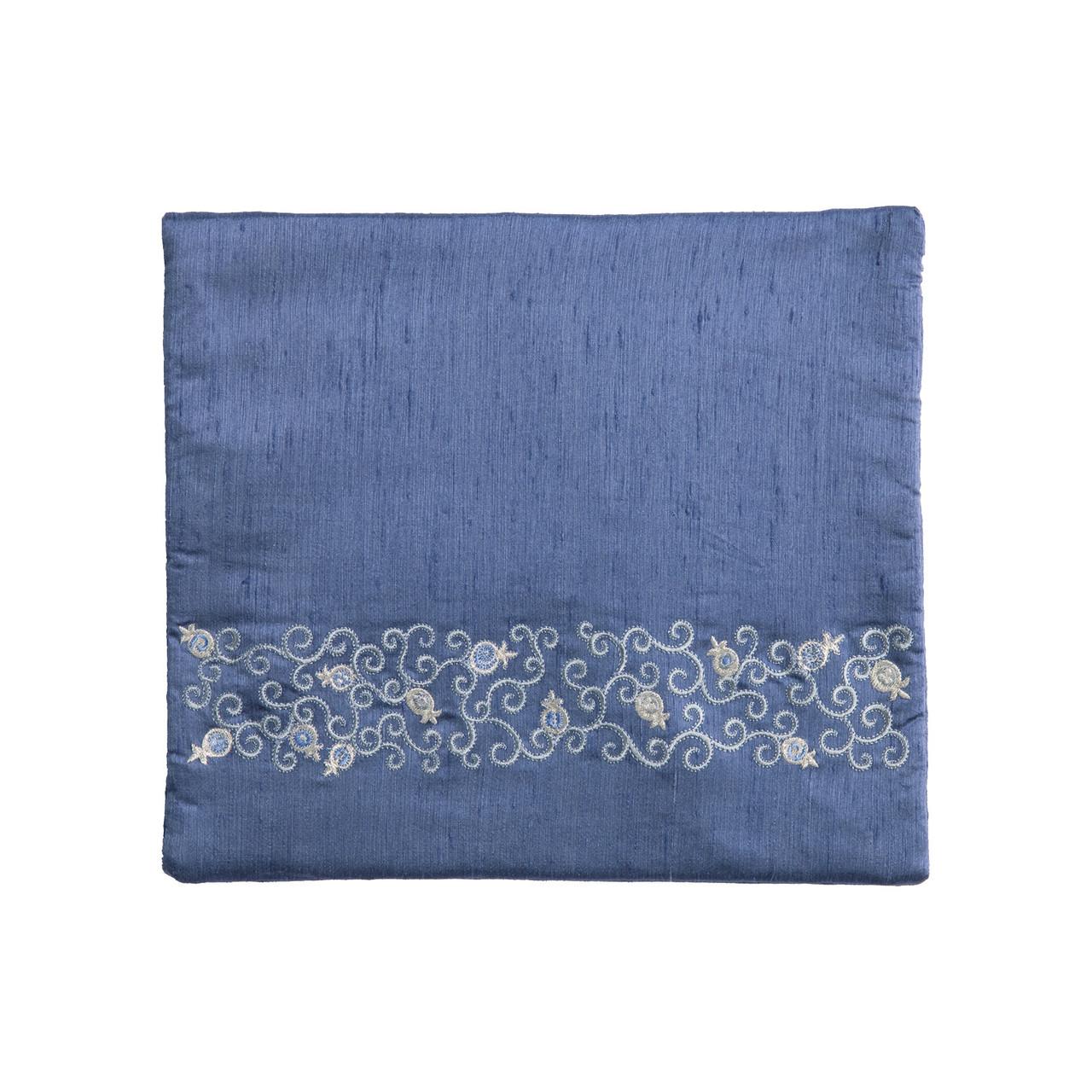 Raw Silk Blue & Silver Pomegranate Vines Tallit Bag