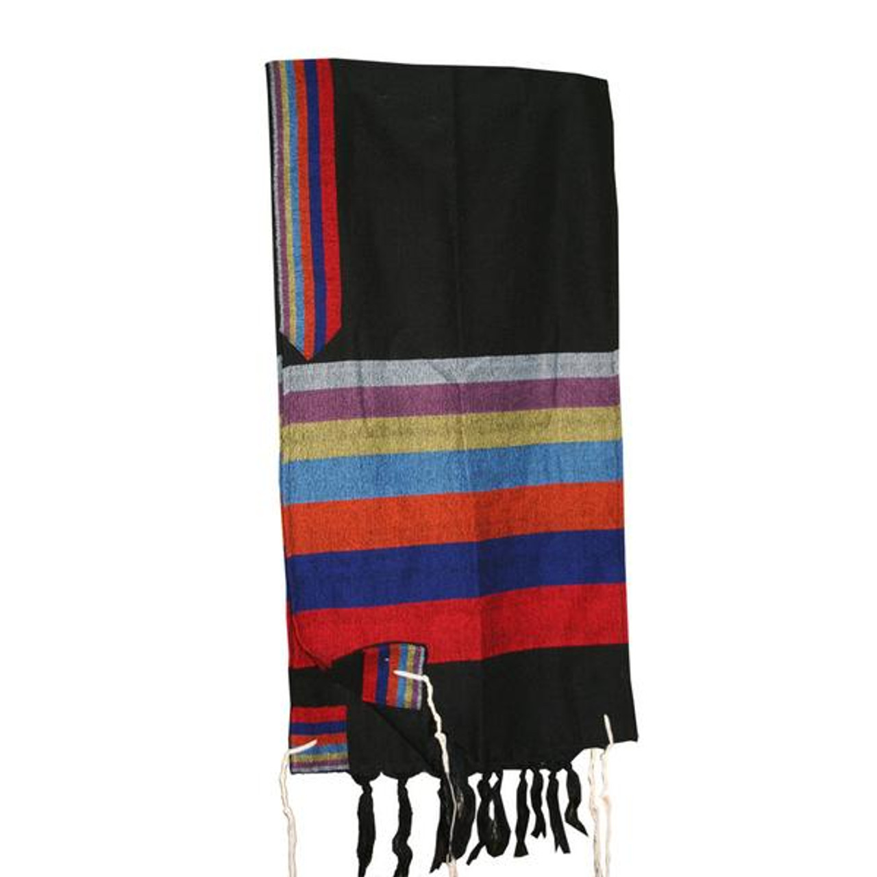 Black Tallit with Rainbow Stripes