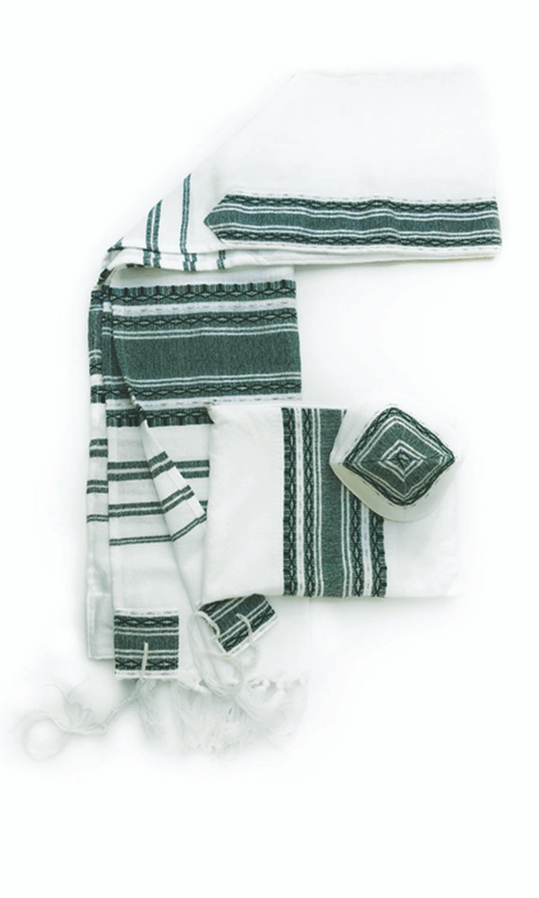 White with Forest Green & Silver Striping