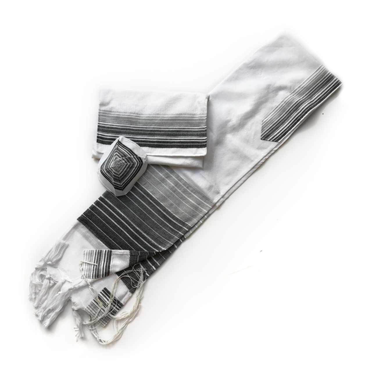 White with Gray and Black Stripes and Silver
