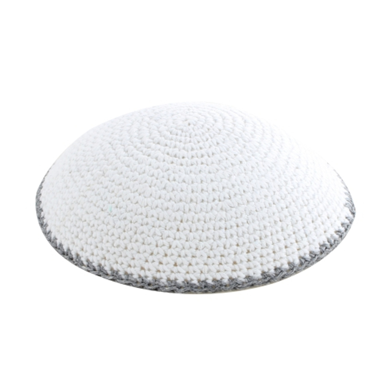 White with Gray Trim DMC Knitted Kippah