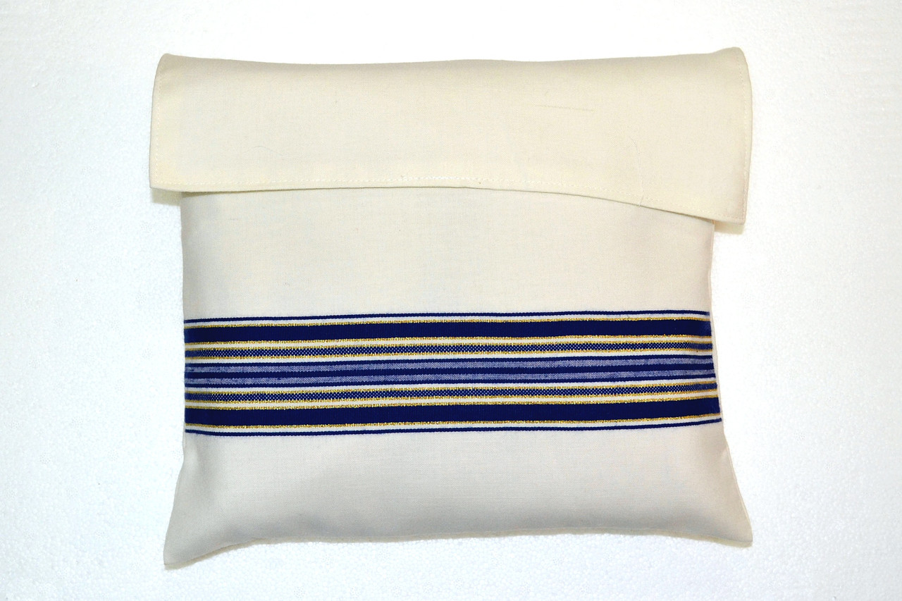 Blue-Gold Striped Wool Tallit Bag