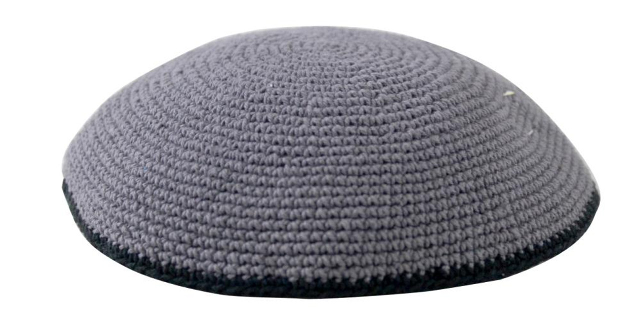 Gray Knitted Kippah with Black Trim