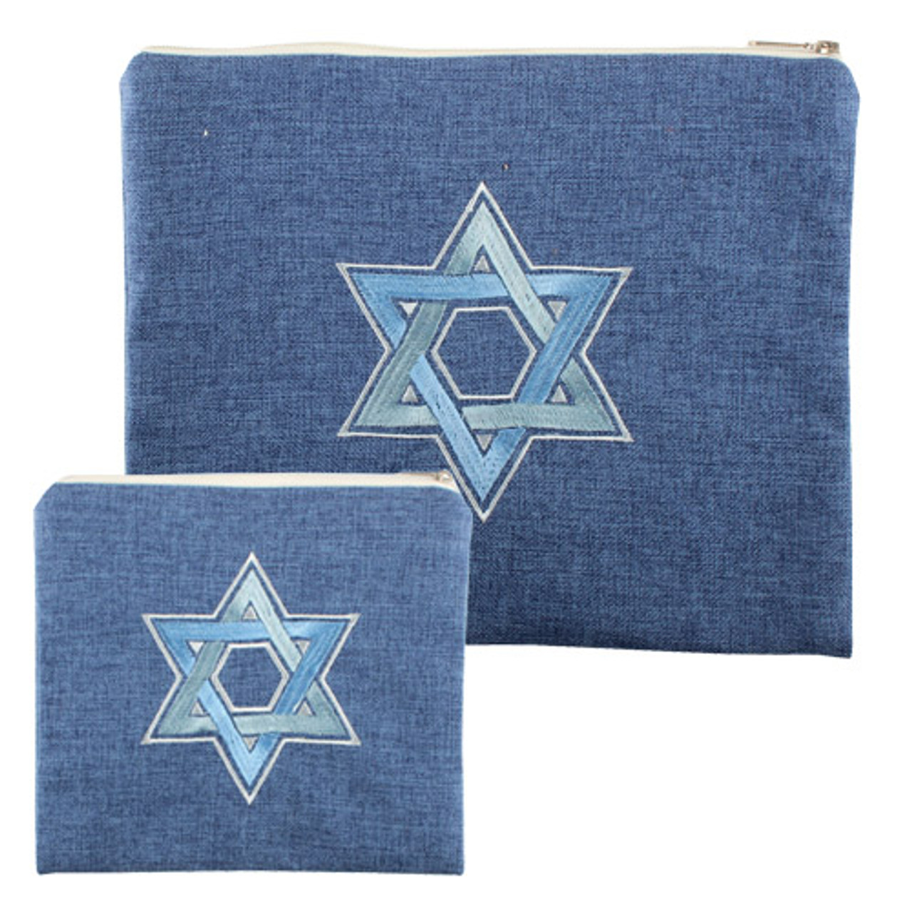 Blue Linen Tallit Bag with embroidered Magen David
