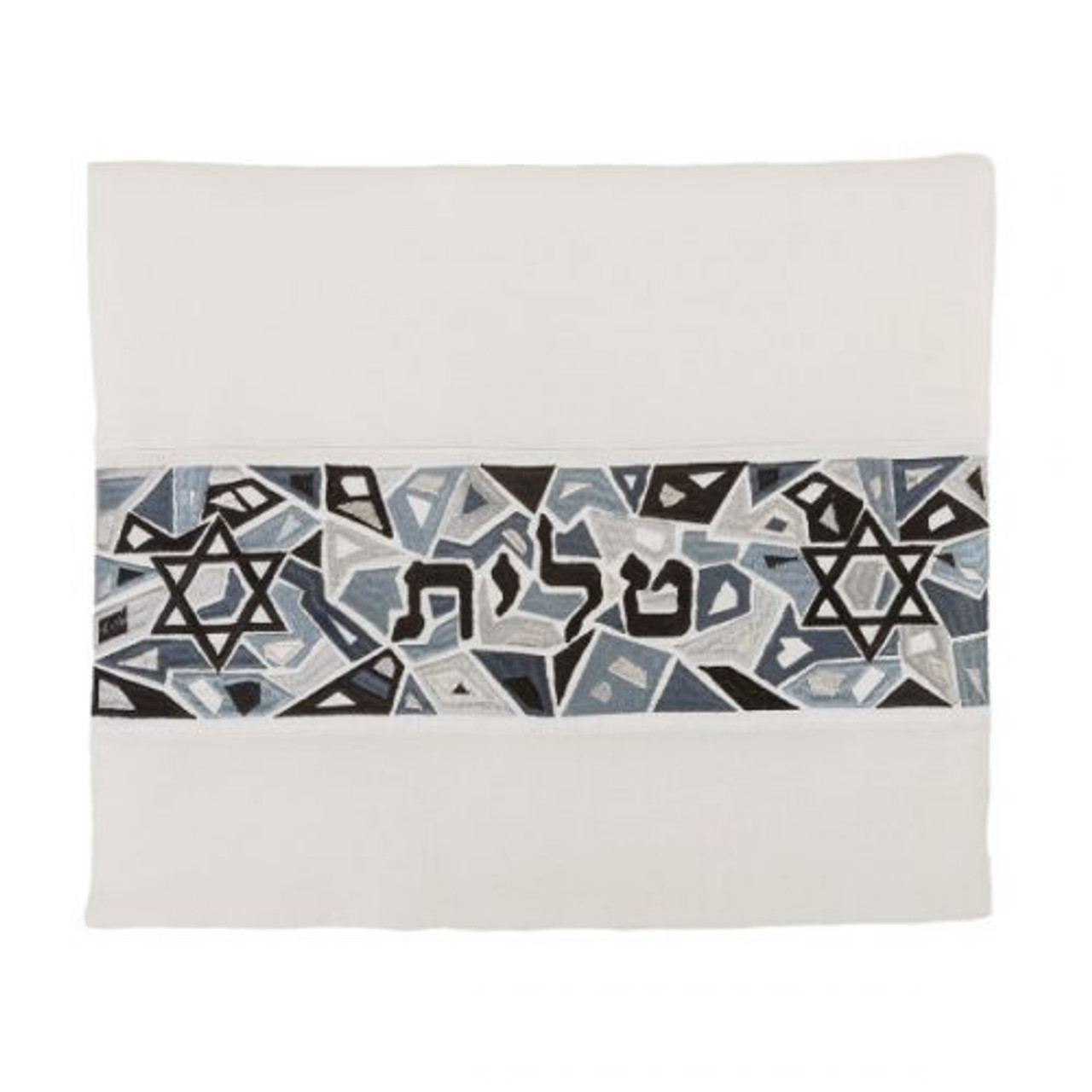 Black-Gray Magen David Geometric Pattern Tallit Bag