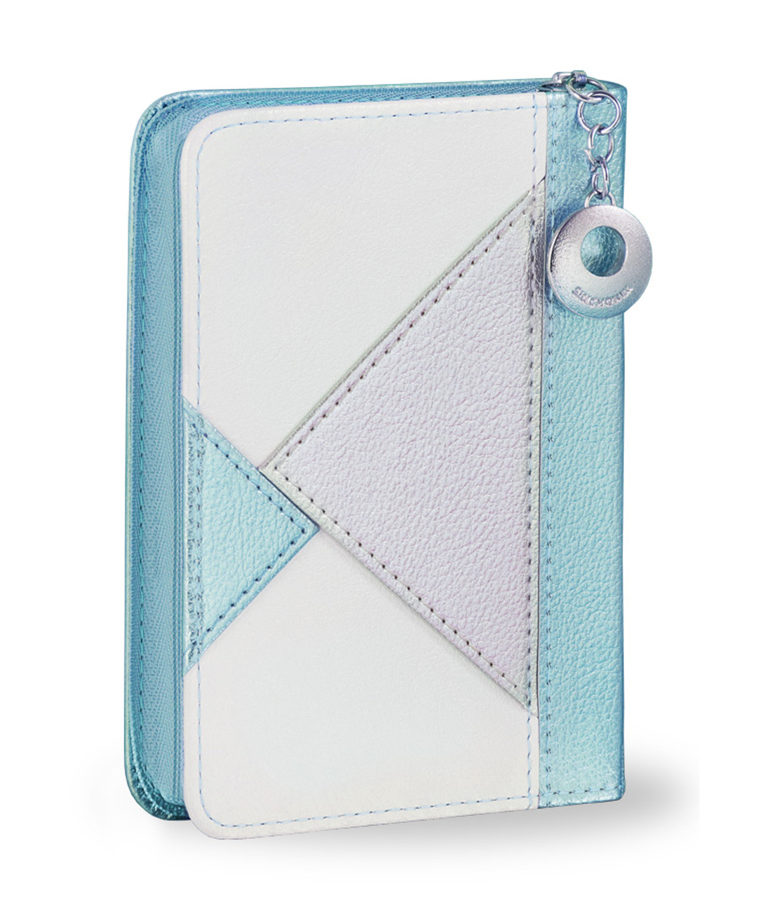 Cyan Blue Geometric Zip-Case Tehillim