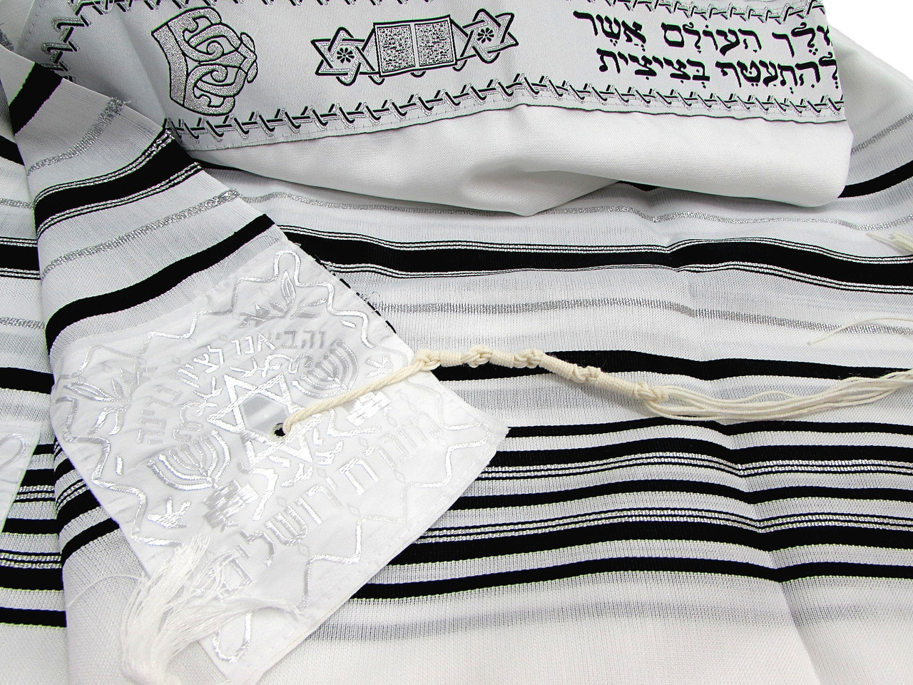 "Black & Silver Striped Children's Tallit, Size 43""x51""/110x130 cm"
