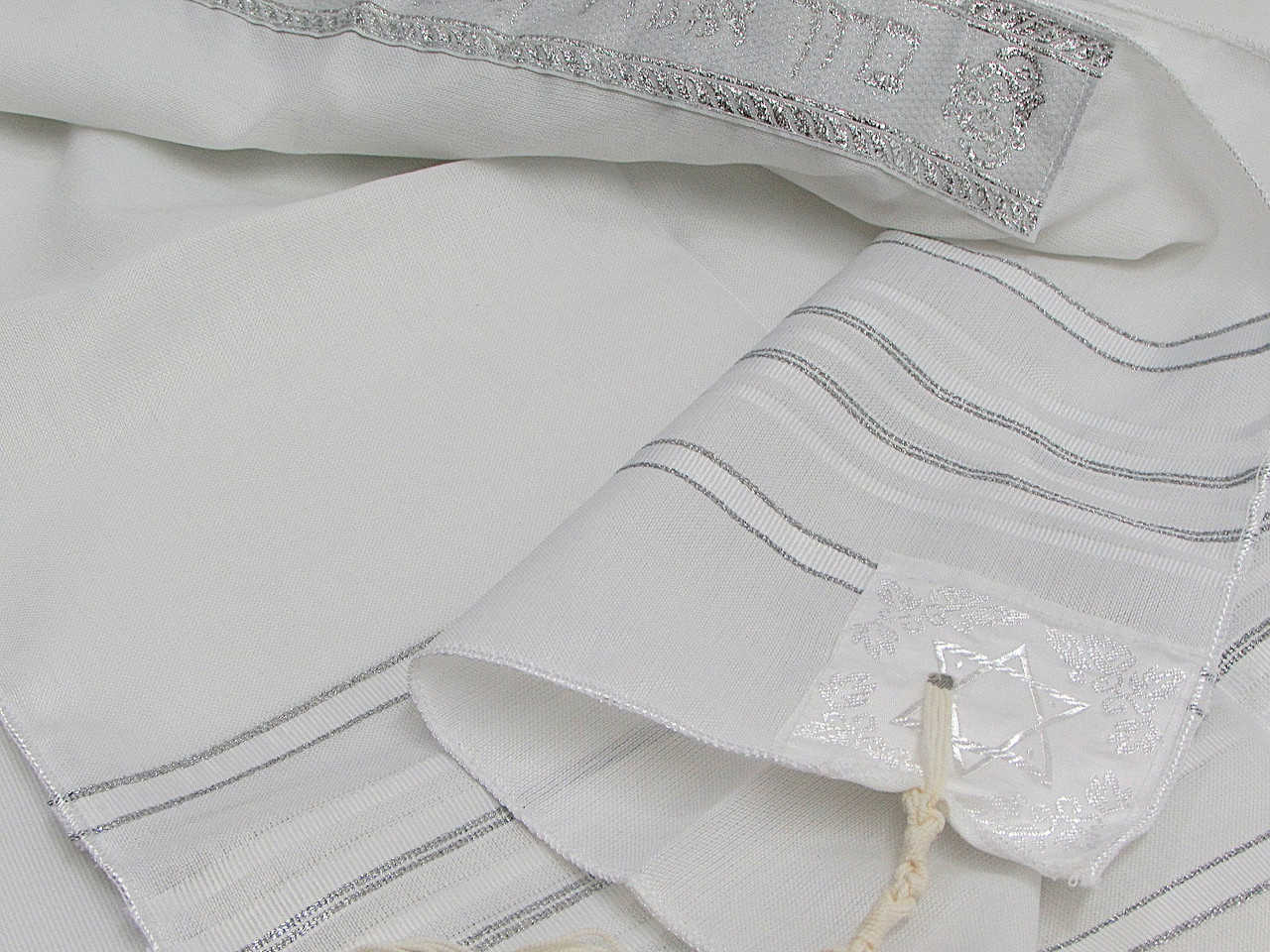 "White and Silver Stripe Children's Tallit, Size 14"" x 47""/35 x 120 cm"
