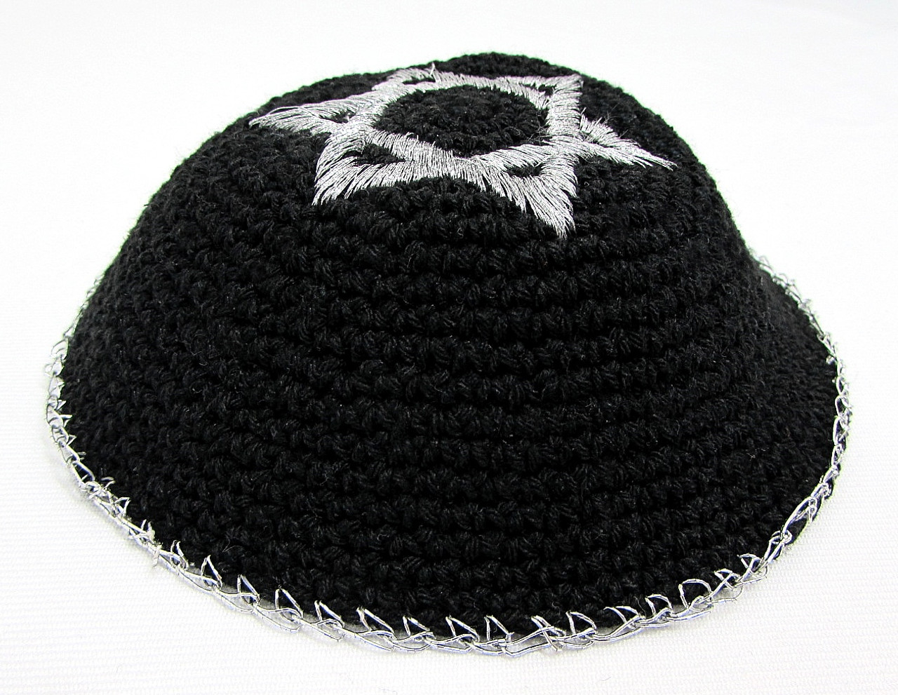 Black Knitted Kippah with Magen David