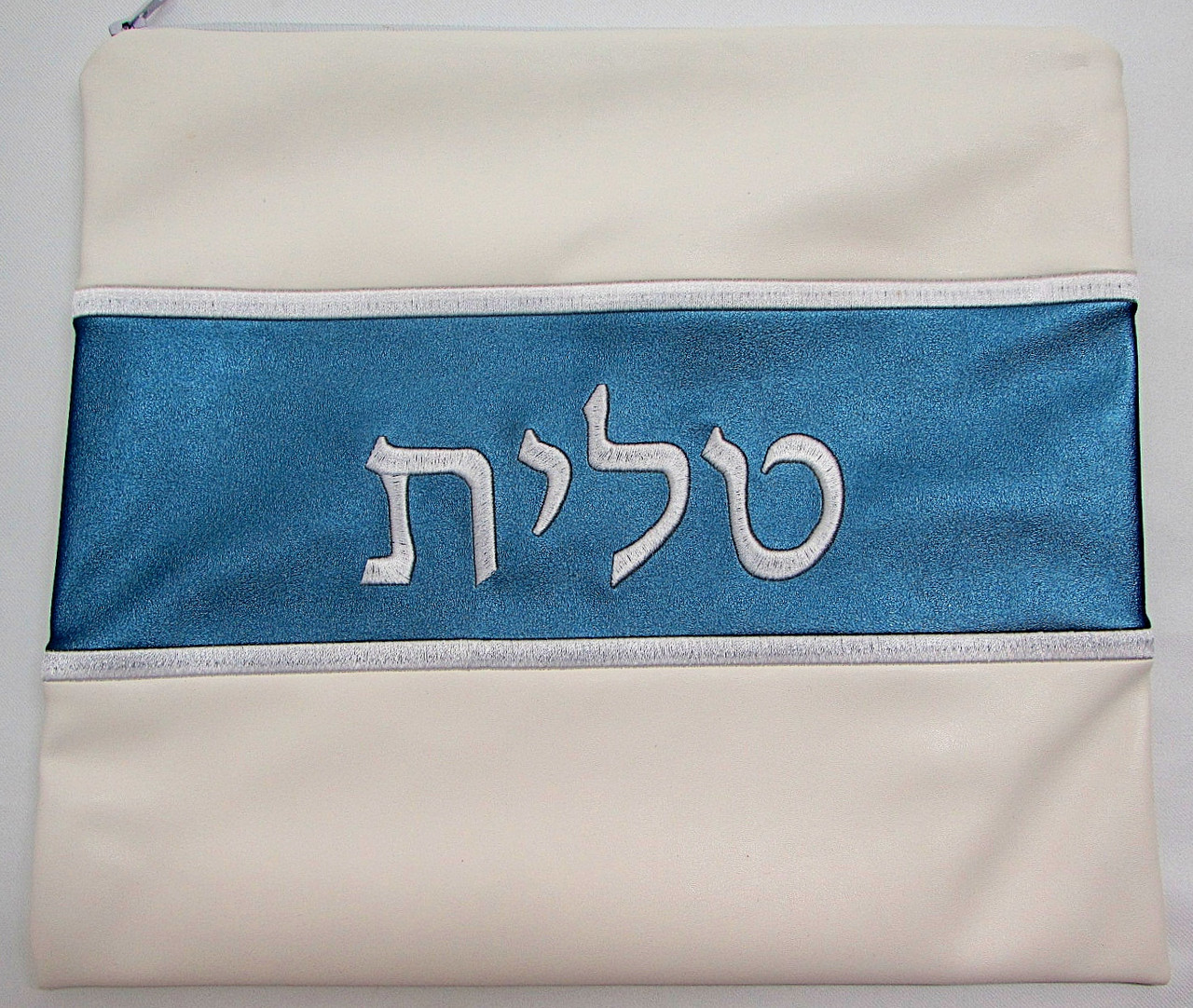 Faux Leather Off-White & Teal Tallit Bag