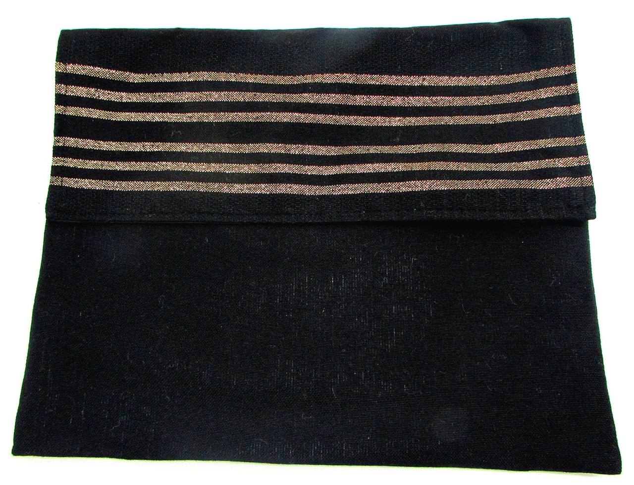 Handwoven Black Wool Tallit Bag with Gold stripes