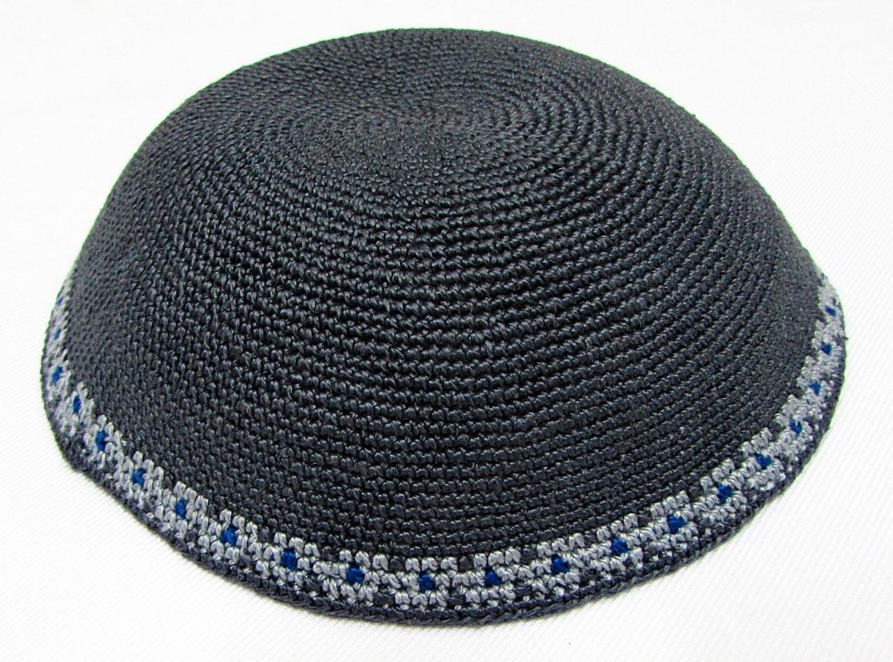 Gray DMC Knitted Kippah with Light Gray & Blue Trim