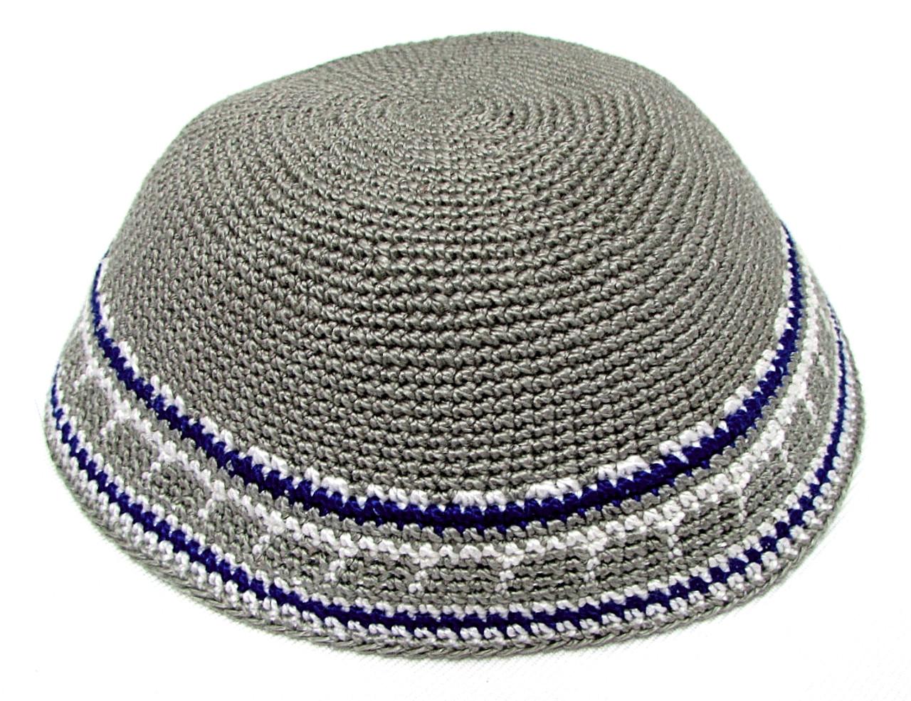 Light Gray DMC Knitted Kippah with Blue & White Trim