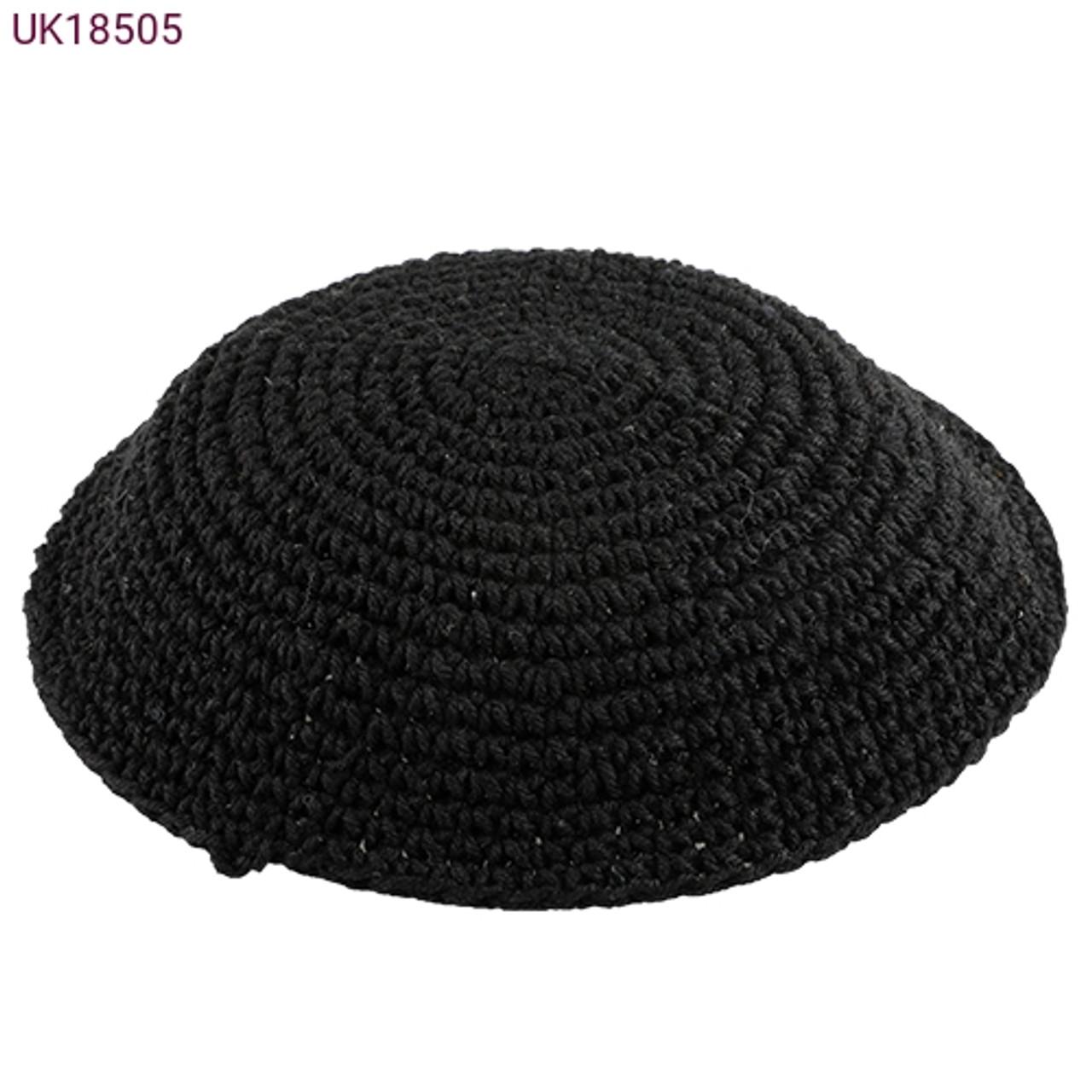 Large Black Knitted Kippah