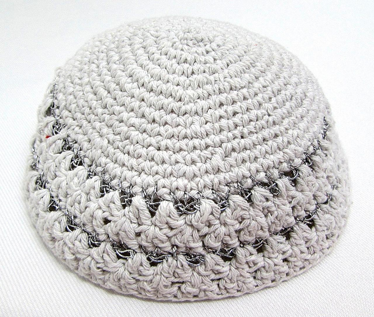 White-Silver Knitted Kippah