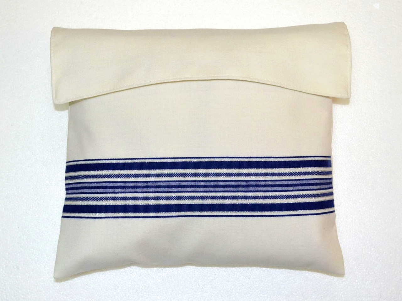 Blue-Silver Striped Wool Tallit Bag
