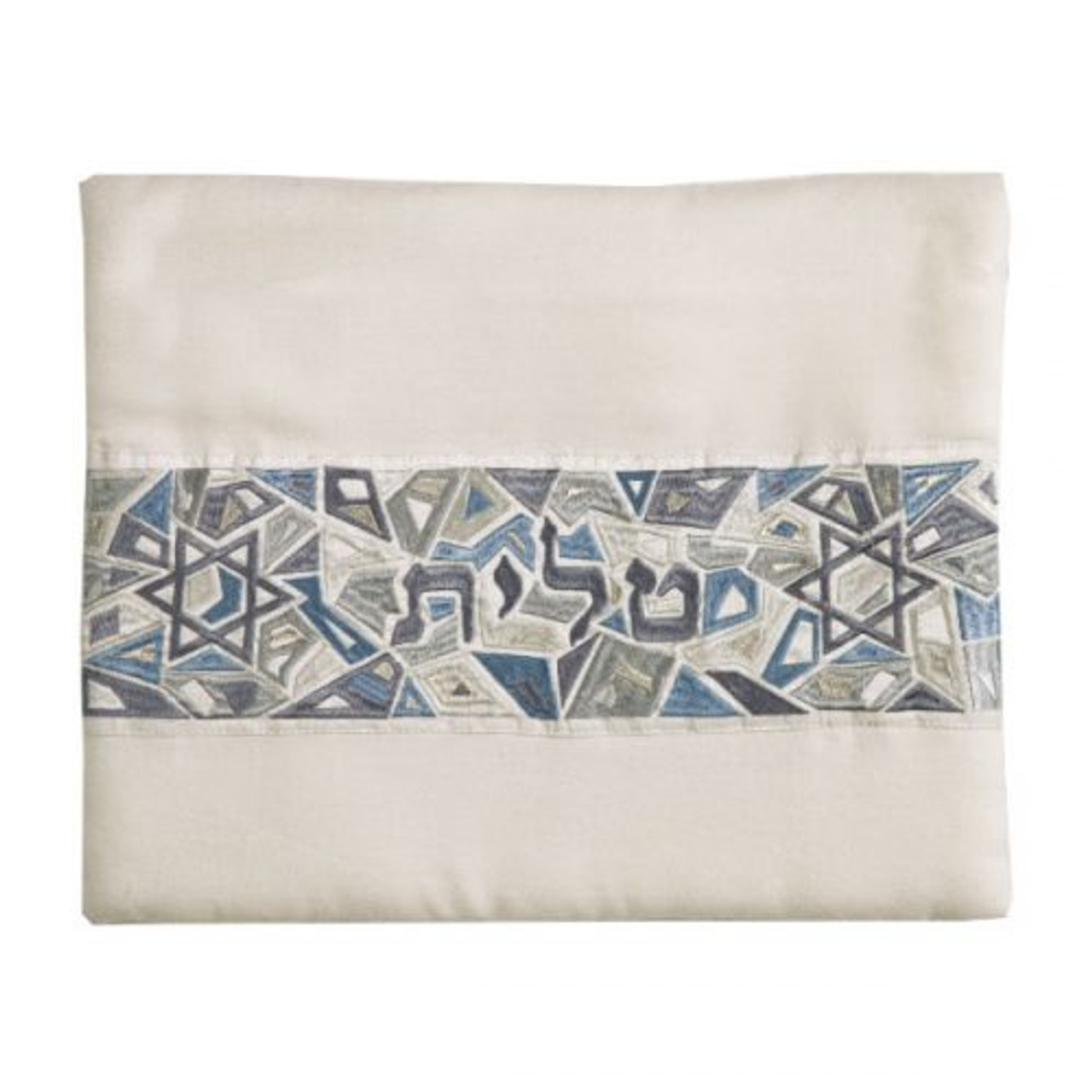 Blue-Gray Magen David Geometric Pattern Tallit Bag
