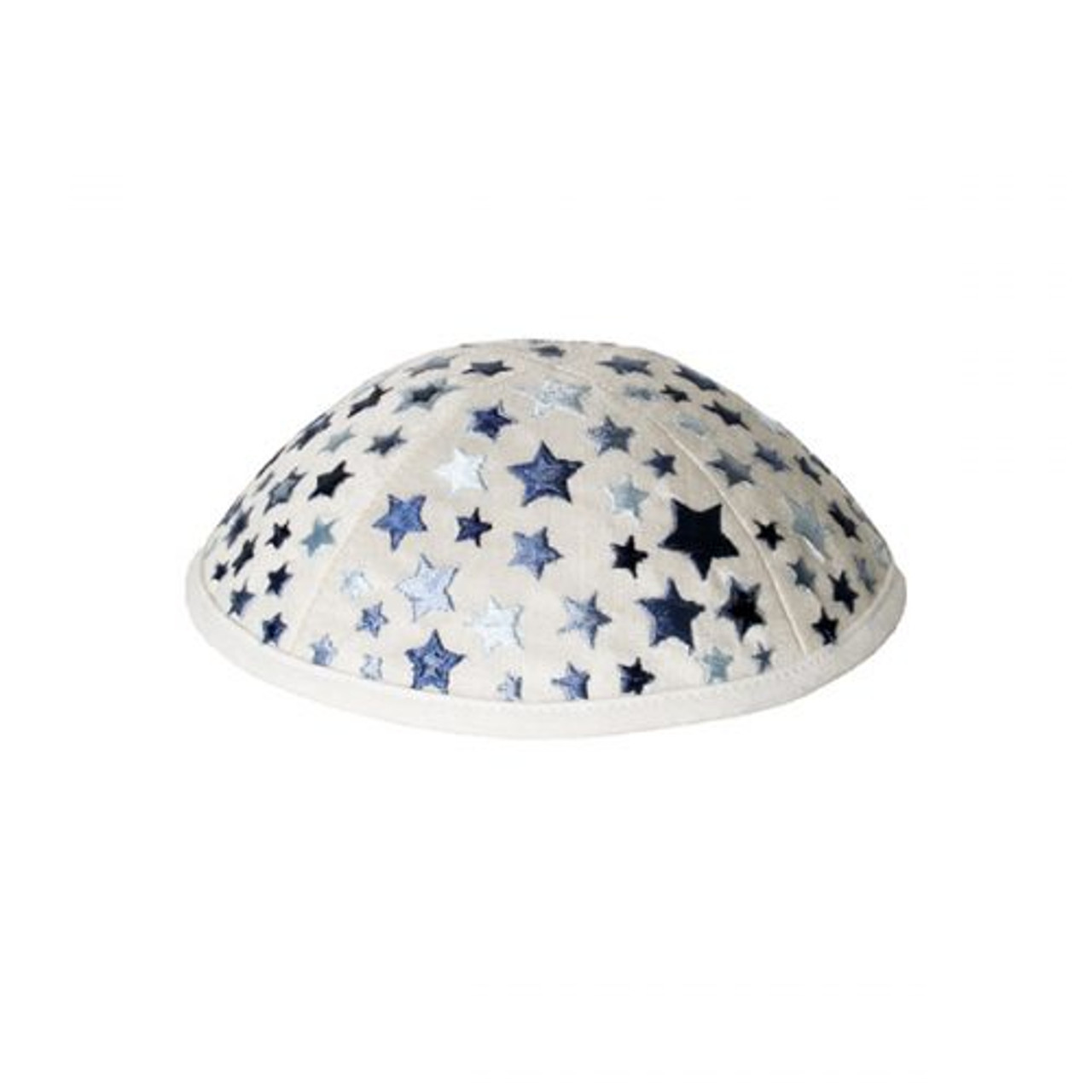 Pearl White Kippah with Embroidered Stars