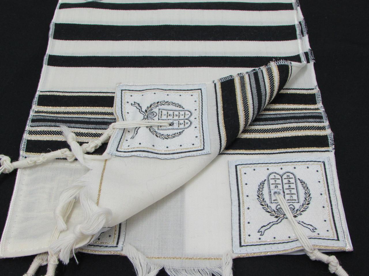 Size 8 Wool Black & Gold Striped Children's Tallit