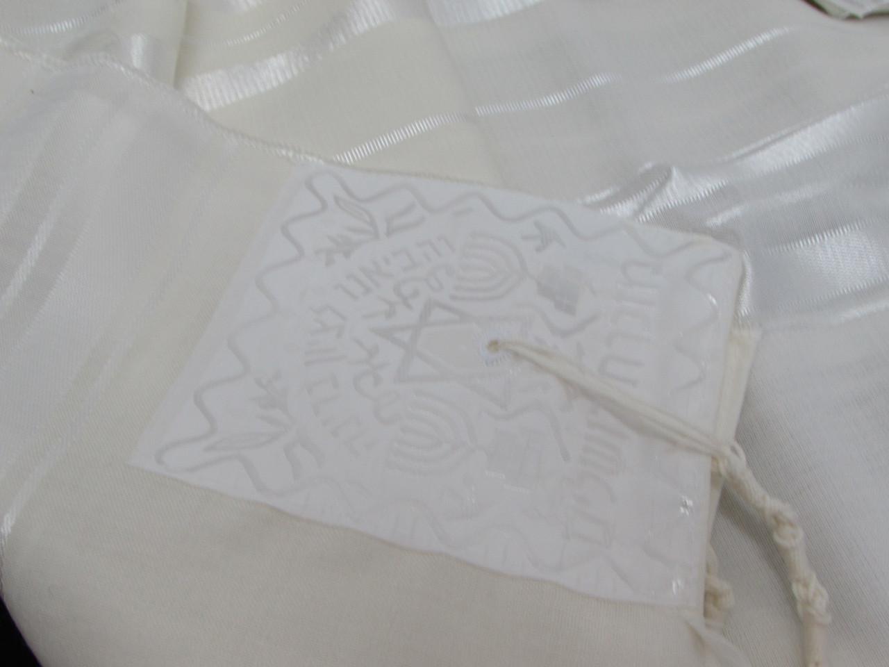 Size 28 Wool White-on-White Children's Tallit