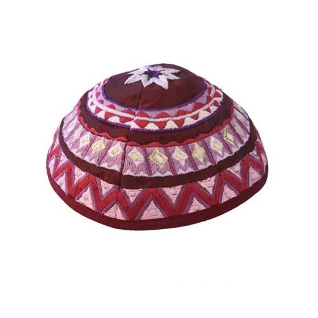 Maroon Embroidered Kippah